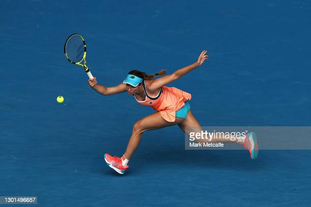 Danielle Collins of the United States of America plays a forehand in her Women's Singles second round match against Karolina Pliskova of Czech...