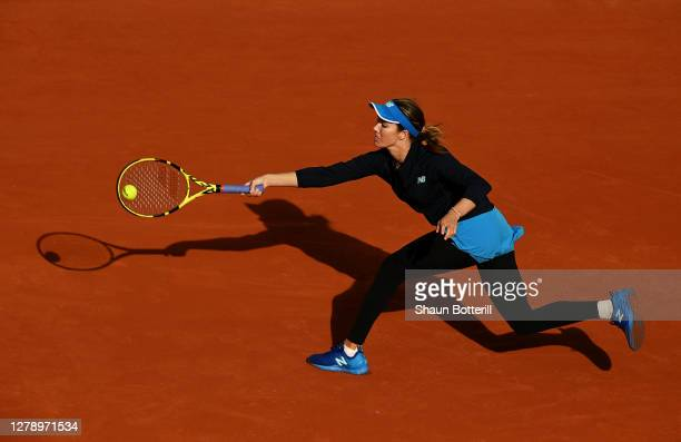 Danielle Collins of The United States of America plays a forehand during her Women's Singles quarterfinals match against Sofia Kenin of The United...