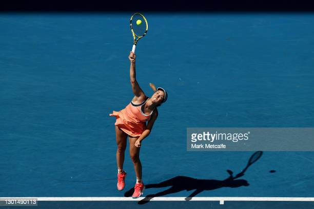 Danielle Collins of the United States of America serves in her Women's Singles second round match against Karolina Pliskova of Czech Republic during...