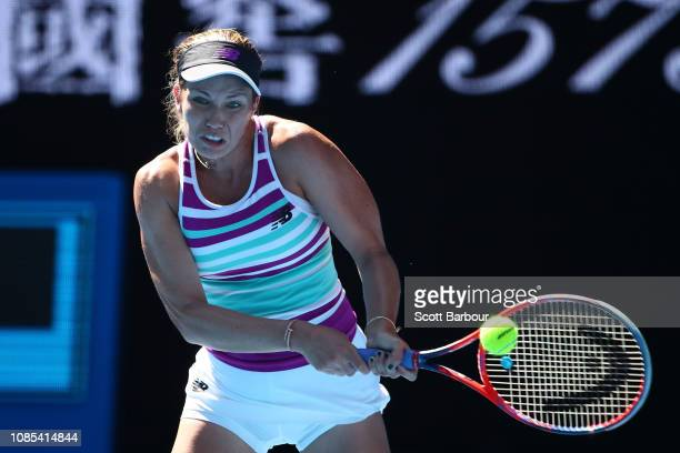 Danielle Collins of the United States plays a backhand in her fourth round match against Angelique Kerber of Germany during day seven of the 2019...