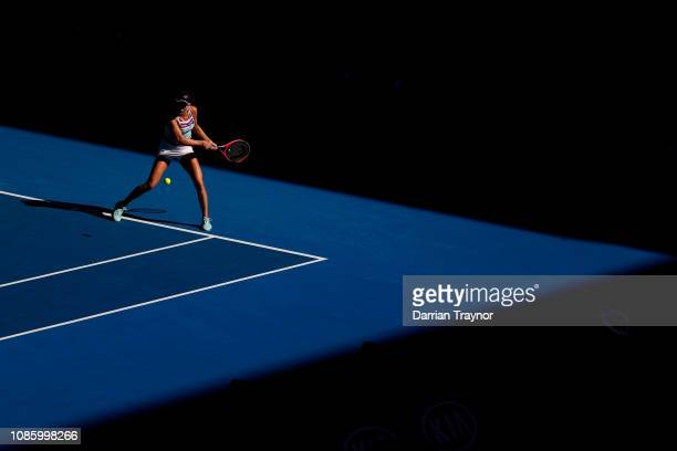 Danielle Collins of the United States plays a backhand in her quarter final match against Anastasia Pavlyuchenkova of Russia during day nine of the...