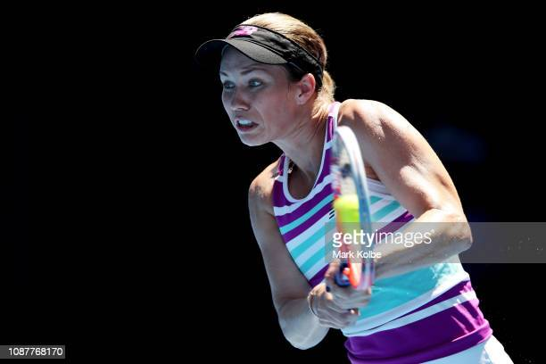 Danielle Collins of the United States plays a backhand in her Women's Semi Final match against Petra Kvitova of the Czech Republic during day 11 of...