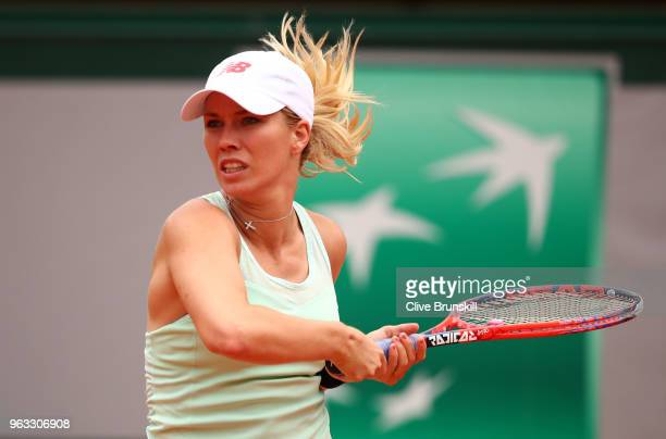 Danielle Collins of The United States plays a forehand during the ladies singles first round match against Caroline Wozniacki of Denmark during day...