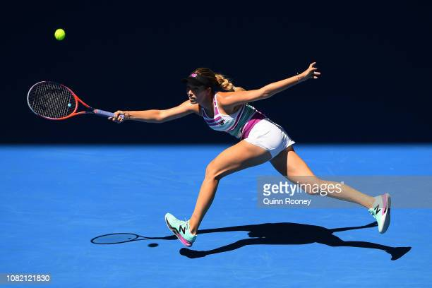 Danielle Collins of the United States plays a forehand in her first round match against Julia Goerges of Germany during day one of the 2019...