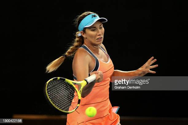 Danielle Collins of the United States plays a forehand in her match against Serena Williams of the United States during day six of the WTA 500 Yarra...