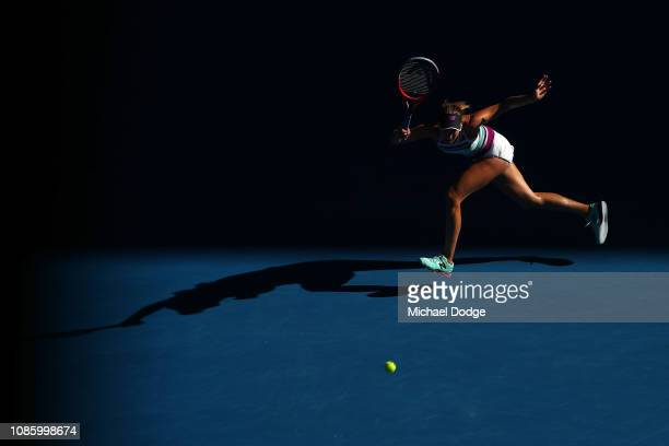 Danielle Collins of the United States plays a forehand in her quarter final match against Anastasia Pavlyuchenkova of Russia during day nine of the...