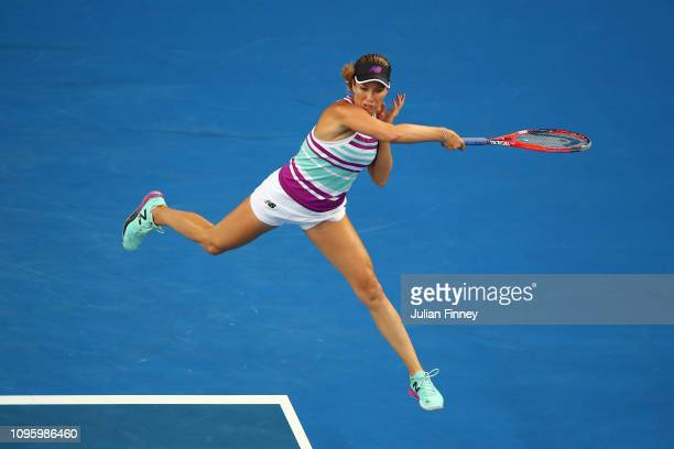 Danielle Collins of the United States plays a forehand in her third round match against Caroline Garcia of France during day five of the 2019...