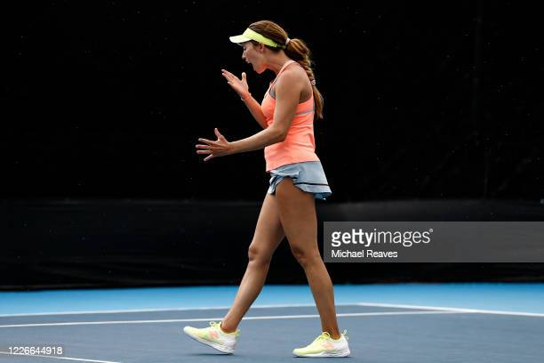 Danielle Collins of the United States reacts during her match against Ajla Tomljanovic of Australia during the UTR Pro Match Series Day 2 on May 23...