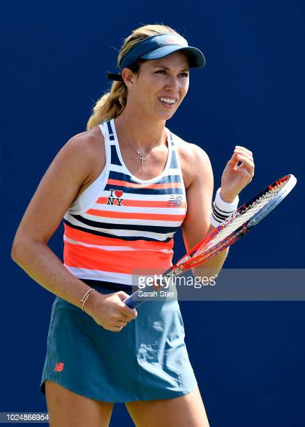 Danielle Collins of the United States reacts during her women's singles first round match against Aliaksandra Sasnovich of Belarus on Day Two of the...