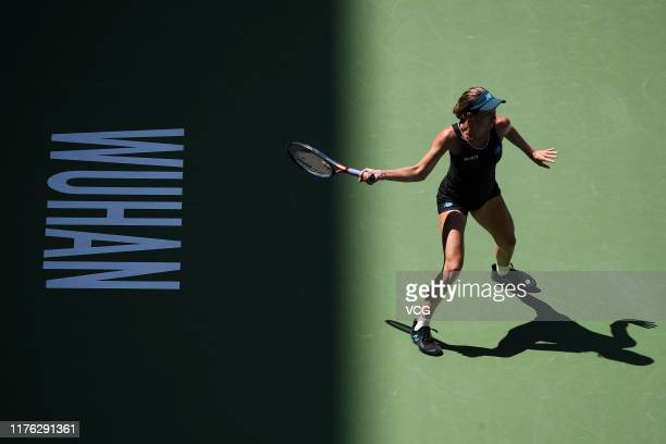 Danielle Collins of the United States returns a shot in the first round match against Venus Williams of the United States on Day one of 2019 Dongfeng...