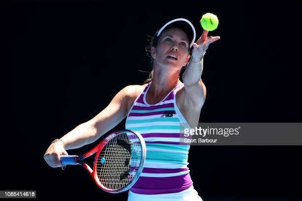 Danielle Collins of the United States serves in her fourth round match against Angelique Kerber of Germany during day seven of the 2019 Australian...