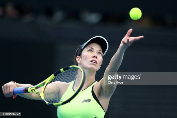 Danielle Collins of the United States serves in her match against Madison Keys of the United States in the quarter final match during day five of the...
