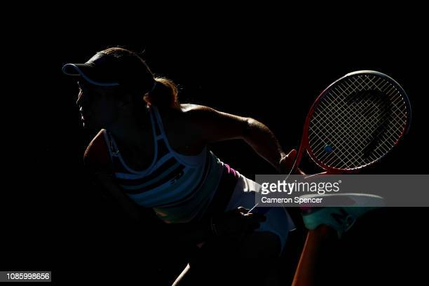 Danielle Collins of the United States serves in her quarter final match against Anastasia Pavlyuchenkova of Russia during day nine of the 2019...
