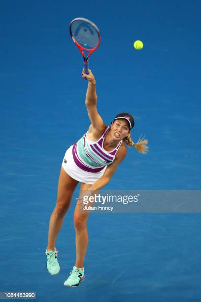 Danielle Collins of the United States serves in her third round match against Caroline Garcia of France during day five of the 2019 Australian Open...
