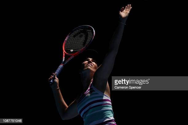 Danielle Collins of the United States serves in her Women's Semi Final match against Petra Kvitova of the Czech Republic during day 11 of the 2019...
