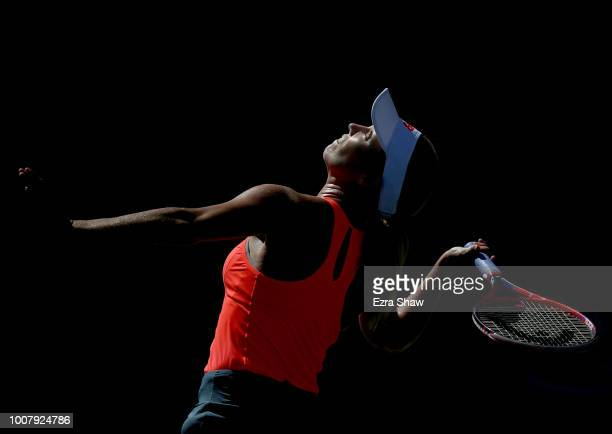 Danielle Collins of the United States serves to Danielle Lao of the United States during Day 1 of the Mubadala Silicon Valley Classic at Spartan...