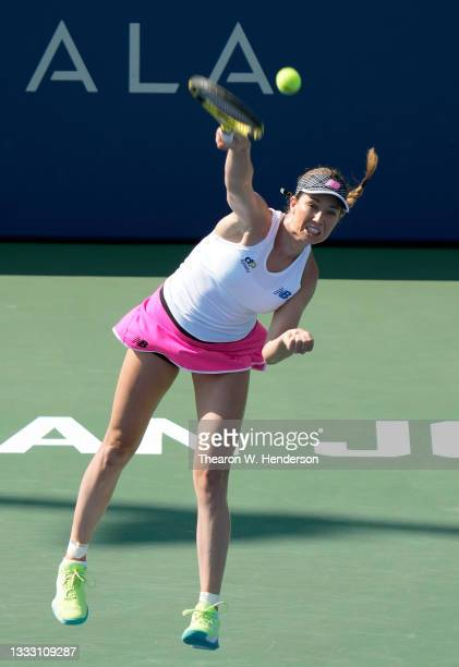 Danielle Collins of the United States serves to Daria Kasatkina of Russia in the singles finals of the Mubadala Silicon Valley Classic at Spartan...