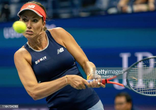 Danielle Collins of the US hits a return to Caroline Wozniacki of Denmark during Round Two Women's Singles tennis match of the 2019 US Open at the...