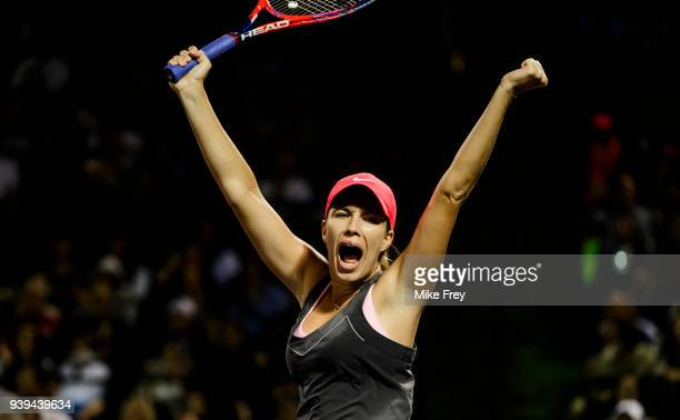 Danielle Collins of the USA celebrates after beating Venus Williams of the USA 62 63 during the quarterfinals match on Day 10 of the Miami Open...