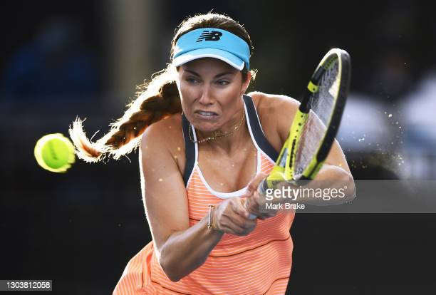 Danielle Collins of the USA plays a back hand during her match against Ashleigh Barty of Australia on day three of the Adelaide International WTA 500...