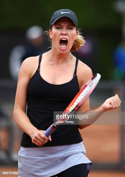 Danielle Collins of USA celebrates winning a game against Sorana Cirstea of Romania during day three of the Internazionali BNL d'Italia 2018 tennis...
