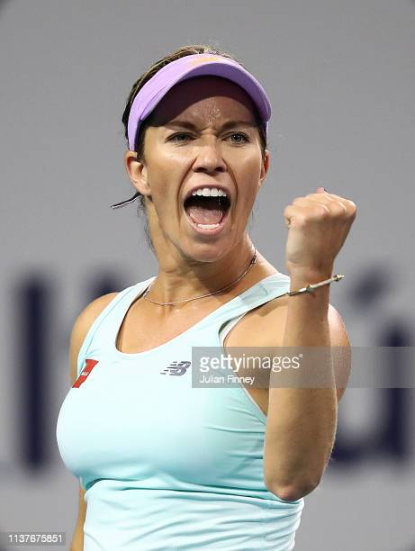 Danielle Collins of USA celebrates winning a game against Whitney Osuigwe of USA during day five of the Miami Open Tennis on March 22 2019 in Miami...