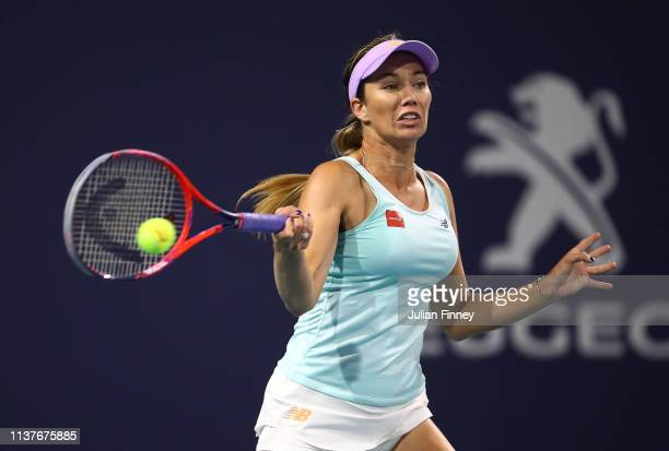 Danielle Collins of USA in action against Whitney Osuigwe of USA during day five of the Miami Open Tennis on March 22 2019 in Miami Gardens Florida