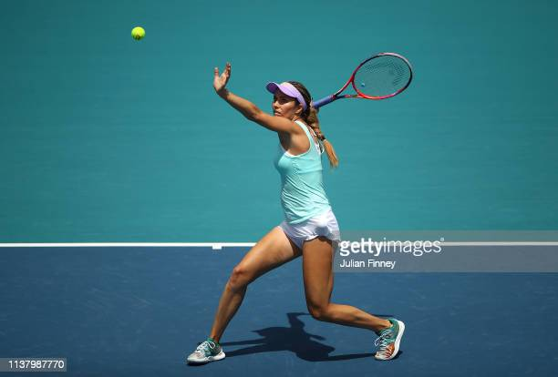 Danielle Collins of USA in action against Yafan Wang of China during day seven at the Miami Open Tennis on March 24, 2019 in Miami Gardens, Florida.