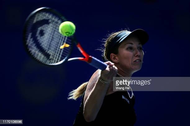 Danielle Collins of USA in action during the match against Venus Williams of USA on Day 1 of 2019 Dongfeng Motor Wuhan Open at Optics Valley...