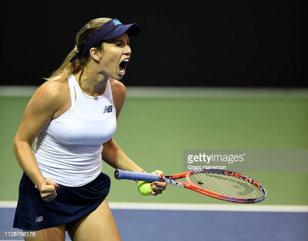 Danielle Collins of USA reacts after her win over Daria Gavrilova of Australia during the first round of the 2019 Fed Cup at U.S. Cellular Center on...