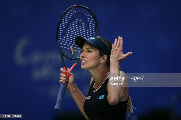 Danielle Collins of USA reacts during the match against Venus Williams of USA on Day 1 of 2019 Dongfeng Motor Wuhan Open at Optics Valley...