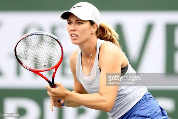 Danielle Collins plays Madison Keys during the BNP Paribas Open at the Indian Wells Tennis Garden on March 10 2018 in Indian Wells California