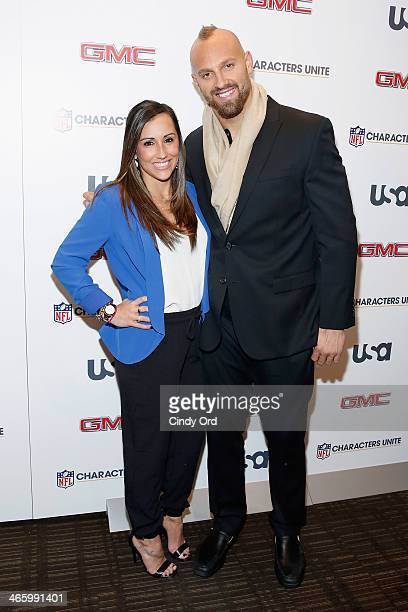 Danielle Conti and football player Mark Herzlich attend the 3rd Annual NFL Characters Unite at Sports Illustrated on January 30 2014 in New York City