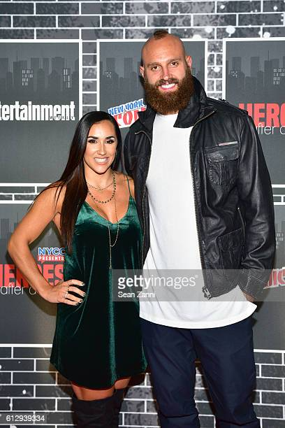 Danielle Conti and Mark Herzlich attend NYCC Presents Heroes After Dark at Highline Ballroom on October 5 2016 in New York City