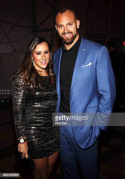 Danielle Conti and Mark Herzlich attend the DirecTV Super Saturday Night at Pier 40 on February 1 2014 in New York City