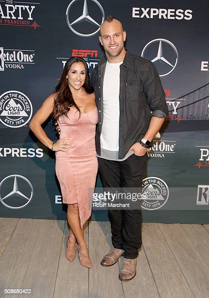 Danielle Conti and NFL player Mark Herzlich attend ESPN The Party on February 5 2016 in San Francisco California