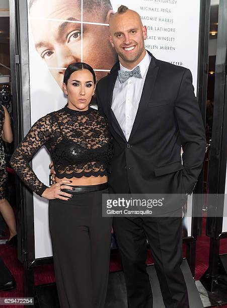 Danielle Conti and NY Giants Mark Herzlich attend 'Collateral Beauty' World Premiere at Frederick P Rose Hall Jazz at Lincoln Center on December 12...