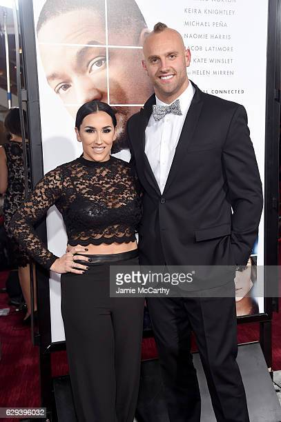 Danielle Conti and NY Giants Mark Herzlich attends the Collateral Beauty World Premiere at Frederick P Rose Hall Jazz at Lincoln Center on December...