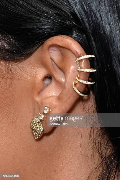 Danielle Conti earring detail attends the Joyful Heart Foundation honors Vice President Joe Biden at Joyful Revolution Gala on May 10 2016 in New...