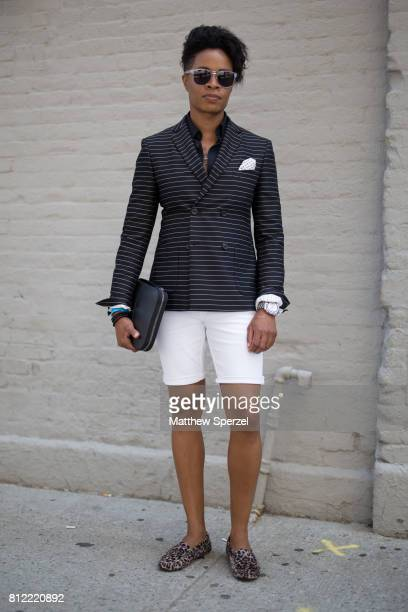 Danielle Cooper is seen attending TEDDY ONDO ELLA during Men's New York Fashion Week wearing The Tailory NYC on July 10, 2017 in New York City.
