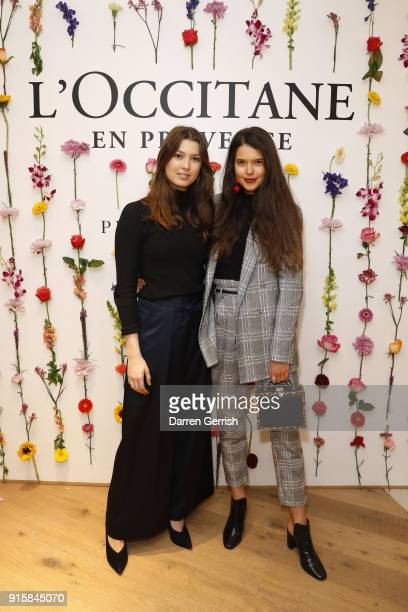 Danielle Copperman and Sarah Ann Macklin attend L'OCCITANE launch party at their flagship store on 7476 Regent street on February 8 2018 in London...