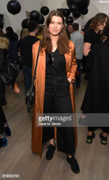 Danielle Copperman attends the Markus Lupfer show during London Fashion Week February 2018 at The Swiss Church on February 17 2018 in London England