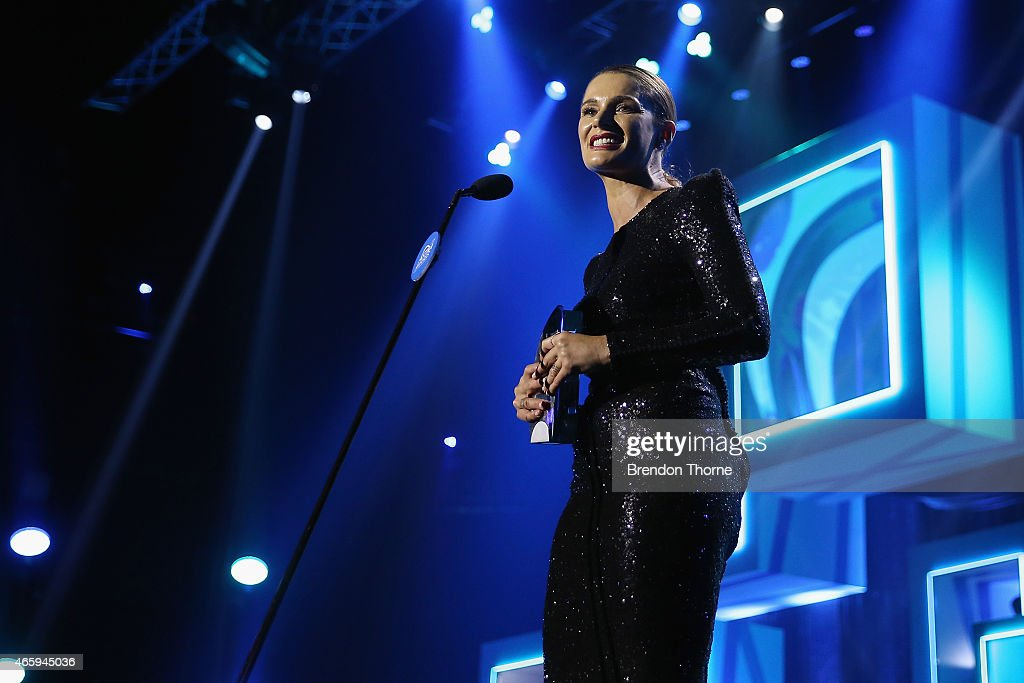 Danielle Cormack accepts the award for Most Oustanding performance by an Actor - female on stage during the 2015 ASTRA Awards at The Star on March 12, 2015 in Sydney, Australia.