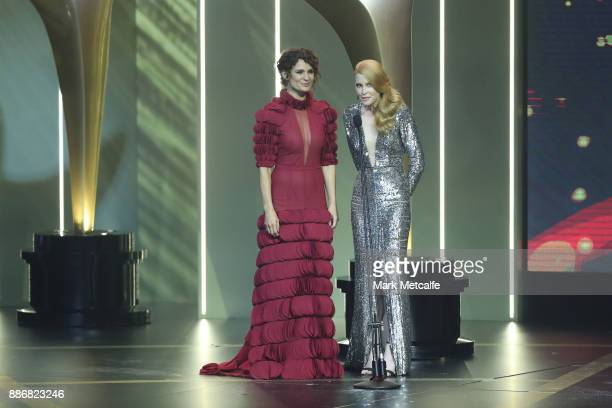 Danielle Cormack and Emma Booth announce the AACTA Award for Best Lead Actor in a Television Drama during the 7th AACTA Awards Presented by Foxtel |...