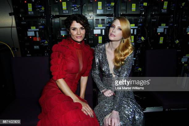 Danielle Cormack and Emma Booth pose backstage during the 7th AACTA Awards Presented by Foxtel at The Star on December 6 2017 in Sydney Australia