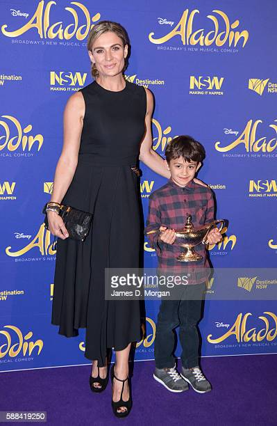 Danielle Cormack and her son Te Ahi Ka Cormack HemaTaylor arrive at the Opening Night of Disney's Aladdin at the Capitol Theatre on August 11 2016 in...