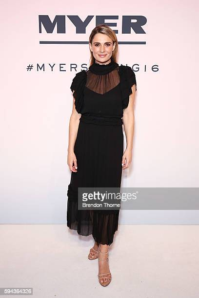 Danielle Cormack arrives ahead of the Myer Spring 16 Fashion Launch at Hordern Pavilion on August 23 2016 in Sydney Australia