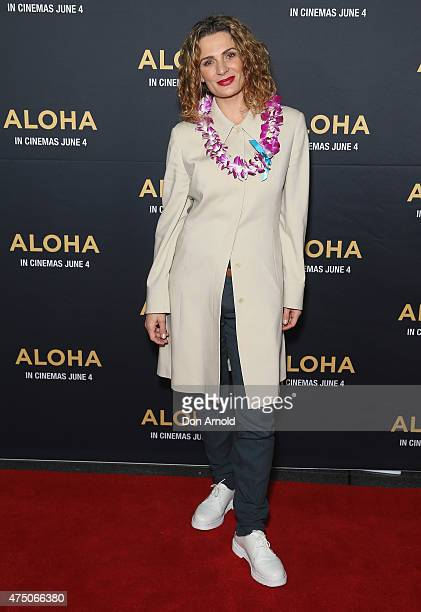 Danielle Cormack arrives at the screening of Aloha at Hoyts Cinemas Moore Park at The Entertainment Quarter on May 29 2015 in Sydney Australia