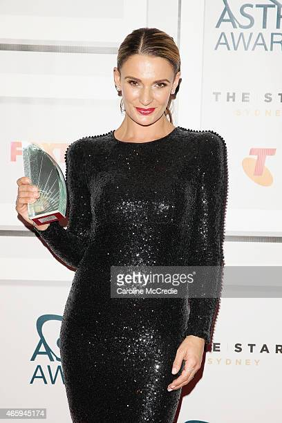 Danielle Cormack poses with the award for Most Outstanding Performance by an actor Female at the 2015 ASTRA Awards at the Star on March 12 2015 in...