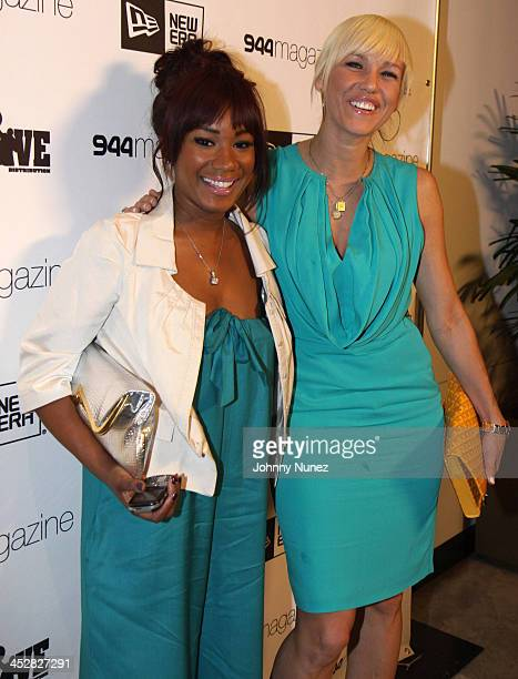 Danielle Crawley and April Roomet attend New Era 944 Magazine PreGrammy Party at Studio 944 on February 7 2009 in Westwood California